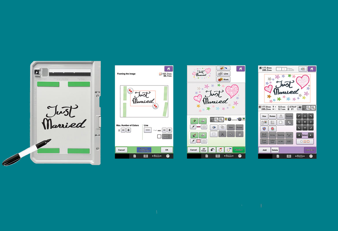 Scan frame and screens showing My Design Center function