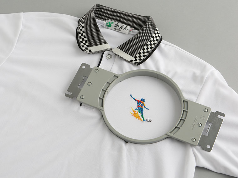 Round embroidery frame on polo shirt